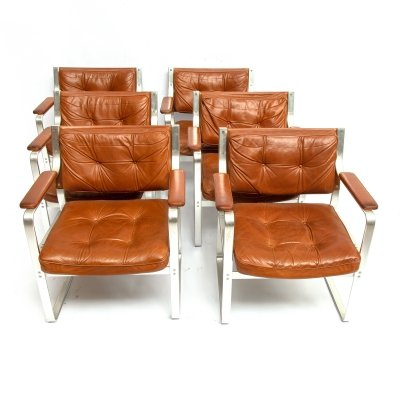 6 midcentury 'Mondo' chairs by Karl Erik Ekselius for Joc Vetlanda, 1970s