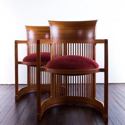 2 Cassina 'Barrel' chairs by Frank Lloyd Wright, 1980s