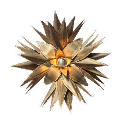 Maison Jansen Star Shaped Palm Tree Style Brass Sconce, 1970s