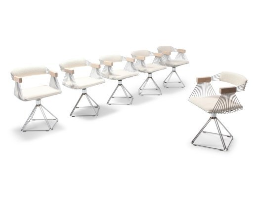 Chromed Steel Wire Swivel Chairs with Ivory Wool Seating by Rudi Verelst, 1970s
