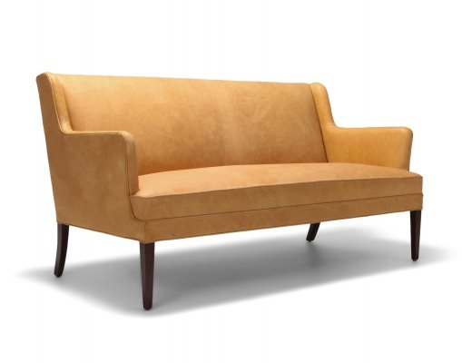 Danish Sofa In Camel Leather, 1960s