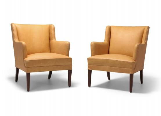 Pair of Scandinavian Modern Bergere Chairs In Camel Leather, 1960s