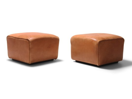 Pair of De Sede DS Cognac Leather Ottomans, 1970s