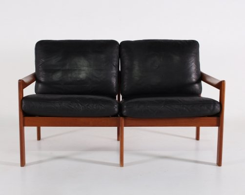 Black leather 2 seater sofa by Illum Wikkelso