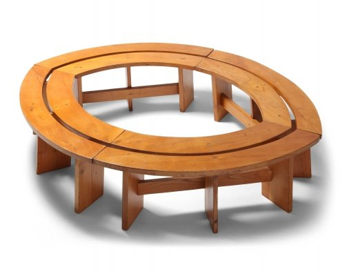 Set of 4 Curved Benches in Elmwood by Pierre Chapo, 1960s