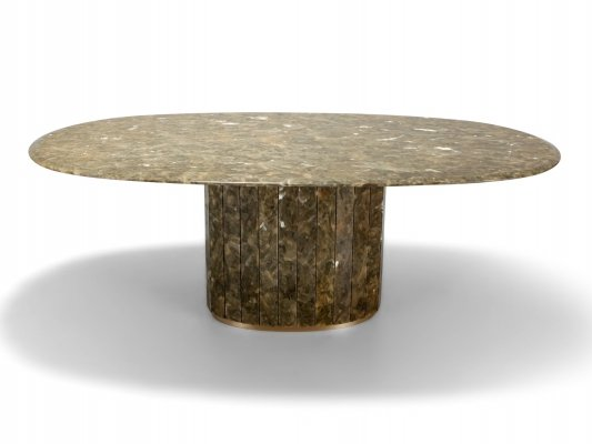 Jean Charles Onyx & Gold Leaf Marble & Brass Dining Table, 1970s