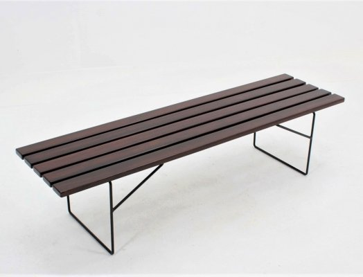Mid century italian design large solid rosewood bench, 1960s
