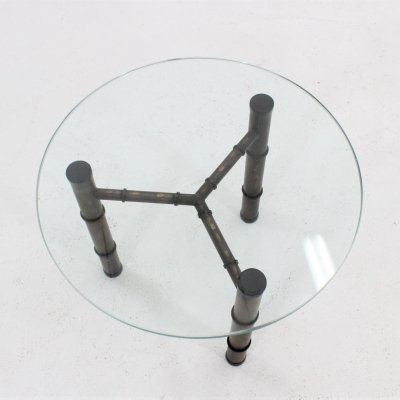 Vintage occasional metal faux bamboo cocktail coffee table, 1970s