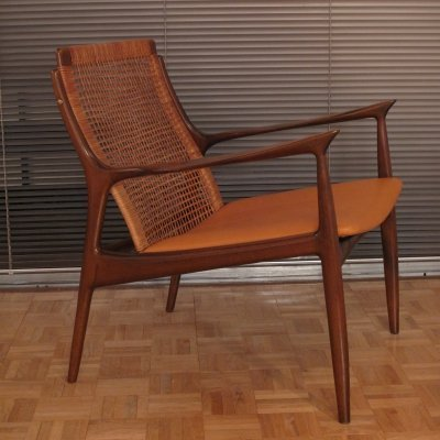 Ib Kofod Larsen Rattan Back Lounge Chair for Selig