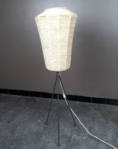 French tripod wicker floor lamp, 1950s
