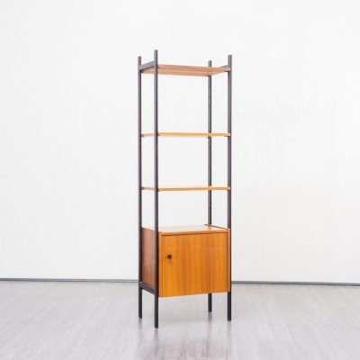 Midcentury Narrow Free Standing Shelving Unit in Walnut And Metal, 1960s