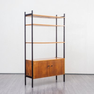Midcentury Free Standing Shelving Unit in Walnut And Metal, 1960s