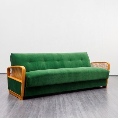 Midcentury Emerald Green Sofa With Fold Out Guestbed, 1950s