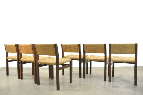 6 'se82' Wengé & Wicker Dining Chairs by Martin Visser & Walter Antonis for 't Spectrum