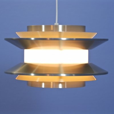 Swedish pendant in aluminium & brass by Carl Thore for Granhaga, 1970s