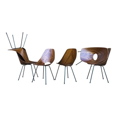 Set of 6 Vittorio Nobili Midcentury Teak 'Medea' Dining Room Chairs, 1956