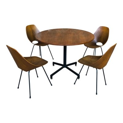 Vittorio Nobili Midcentury Teak Medea Dining Room set With Table & Chairs, 1956