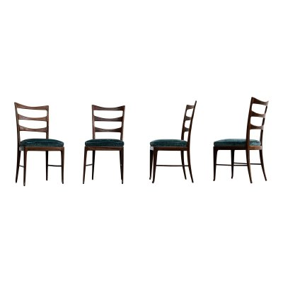 Set of 4 Paolo Buffa Midcentury Walnut & Emerald Velvet Dining Chairs, 1948