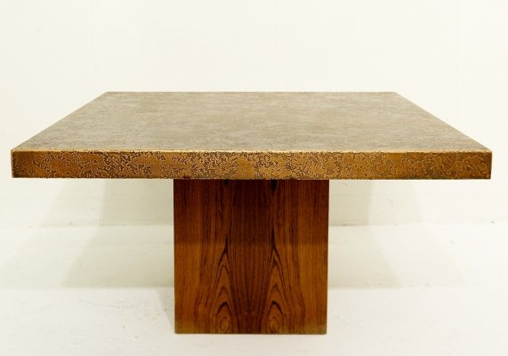 Square Coffee Table With Carved Top, 1970s