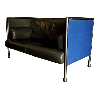 Ettore Sottsass Postmodern Iron & Black Leather 'Danube' Sofa for Cassina, 1992