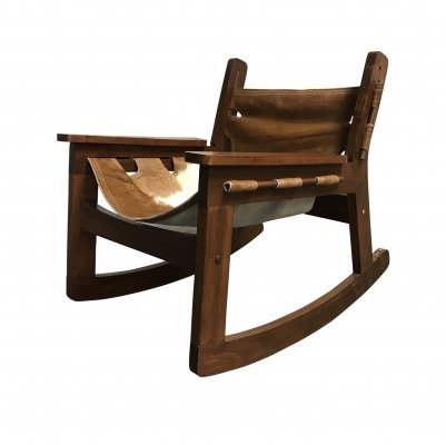 Vintage brazilian cowhide rocking chair, 1950s