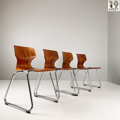 Four German Pagwood stacking chairs by Flötotto