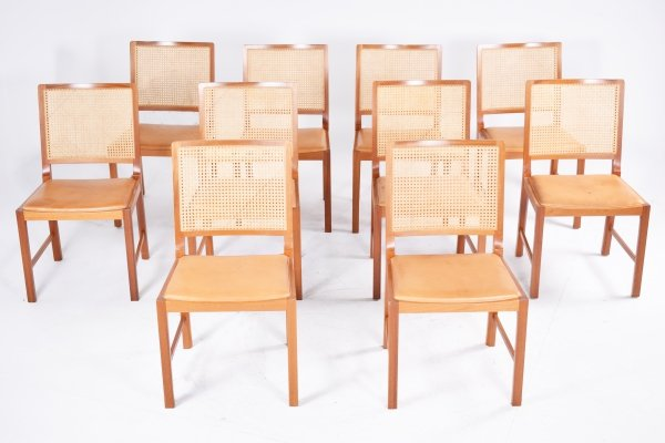 Set of 10 Danish Mid-Century Mahogany Chairs by Bernhard Pedersen, 1960s