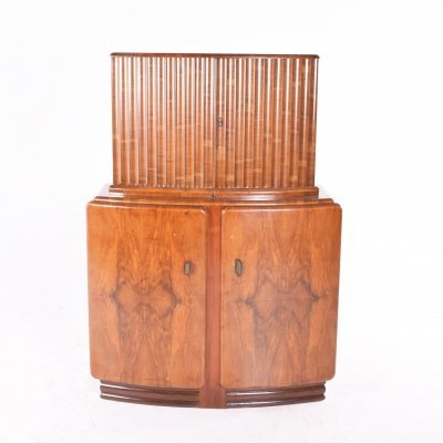 English Deco Bar in Walnut, 1920s