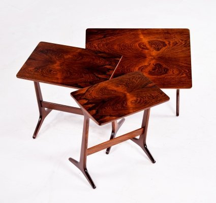 Danish Rosewood Nesting Tables by Erling Torvits for Heltborg Mobler, 1960s