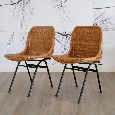 Set of 2 Rattan Dining Chairs by Rohé Noordwolde, 1960s