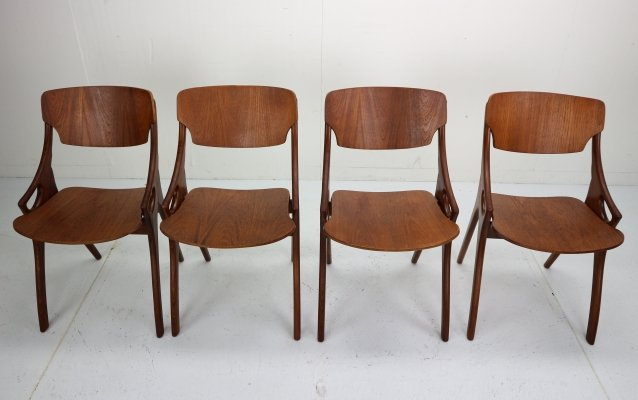 Set of 4 Arne Hovmand Olsen for Mogens Kold Teak Dining Chairs, Denmark 1960s