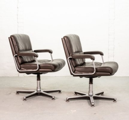 Pair Deep Brown Leather Desk / Side Chairs by Drabert, Germany 1970s