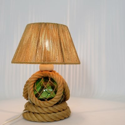 French table lamp with rope & green glass, 1950-1960