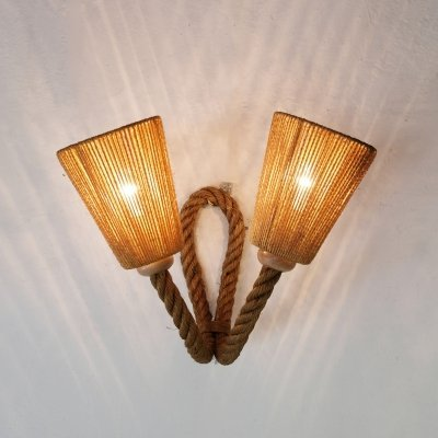 Large French rope wall lamp, 1950-1960