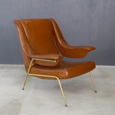 Italian armchair in original leather & brass, 1950s
