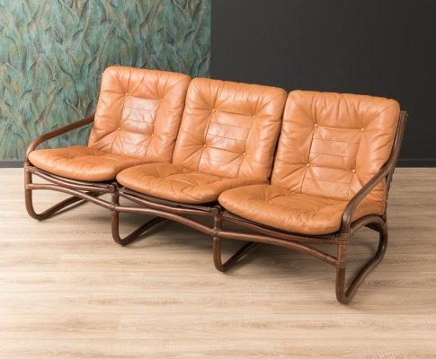 Bamboo sofa with leather cushions, 1960s