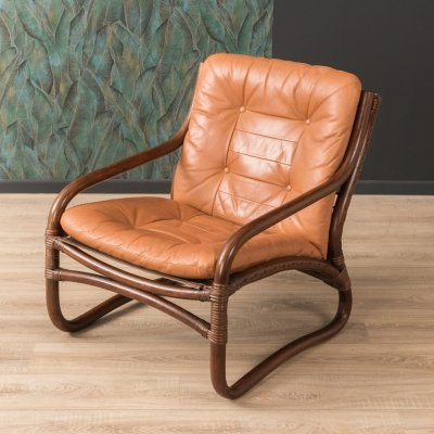 Bamboo chair with leather cushions, 1960s