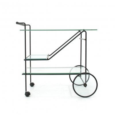 Cart in metal & glass, 1980s
