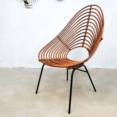 Vintage dutch design Rohe Noordwolde bamboo lounge chair