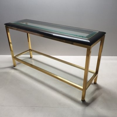 Rare brass 2-tiers console table with a black lucite & glass top