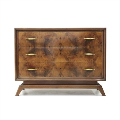 Italian mid-century chest of drawers with brass handles, 1950s