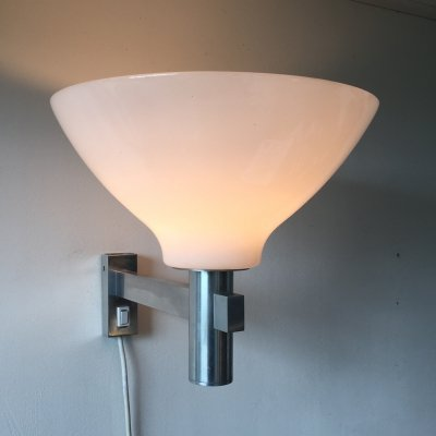 1960s aluminium wall light with acrylic shade