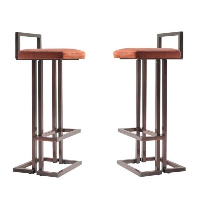 Pair of Rose Metal Stools by Maison Jansen, 1970s