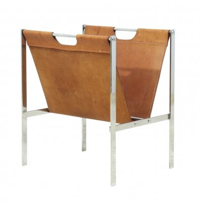 Chrome & Coach Leather Magazine Rack c1960