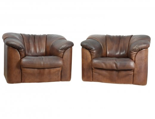 Pair of De Sede DS45 Chairs in Brown Neck Leather