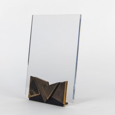 Lucite & Bronze Picture Holder by Esa Fedrigolli, 1970s