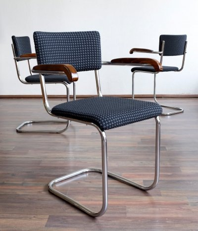 Set of 3 dining chairs by Mart Stam for Robert Slezák, 1950s