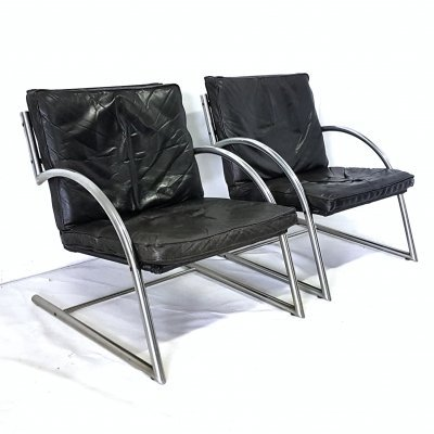 Set of 2 'Des' lounge chairs by Gerard van den Berg for Rohé, Netherlands 1980s