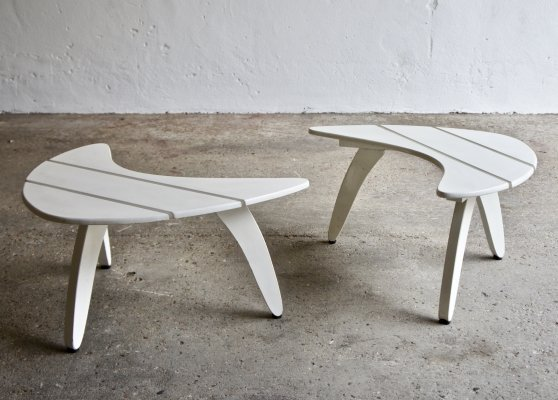 Midcentury French Boomerang Slatted Side Tables
