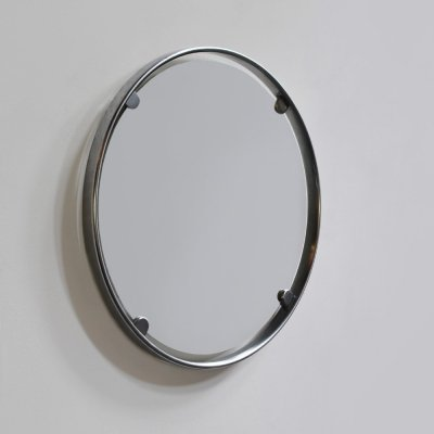 Round brushed steel wall mirror by Egon Hillebrand, Germany 1960s